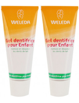 Lot de 2 Gels dentifrice enfant dents de lait 2 x 50ml Weleda sans fluor Abcbeauté
