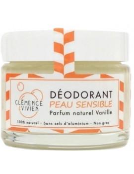 Baume déodorant Peau sensible à la Vanille 50gr Clemence et Vivien hydroxyde de magnésium Abcbeauté