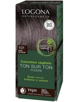 Coloration végétale Ton sur Ton Noir Intense 101 en poudre 100gr Logona soin colorant Abcbeauté