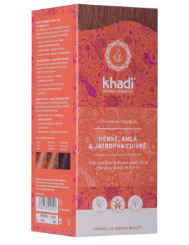Coloration végétale Henné Amla et Jatropha cuivré 100 gr Khadi reflets cuivrés Abcbeauté