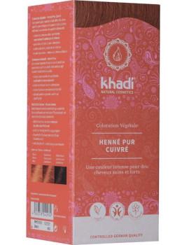 Coloration végétale Henné Pur cuivré 100 gr Khadi Henné naturel reflets cuivrés et acajou Abcbeauté