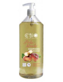 Shampooing douche Pêche blanche 1 Litre C'Bio shampoing bio Abcbeauté