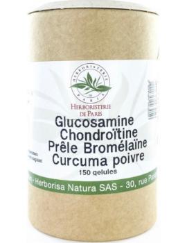 Glucosamine chondroïtine Prêle Bromélaïne Curcuma Poivre 150 Gélules Herboristerie de Paris