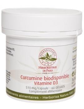 Curcumine biodisponible Vitamine D3 60 gélules - Herboristerie de Paris curcumine sous forme de liposomes Abcbeauté