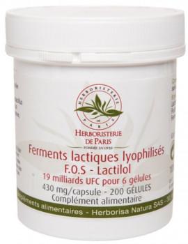 Ferments lactiques lyophilisés FOS Lactilol 200 Gélules Herboristerie de Paris probiotiques flore intestinale Abcbeauté