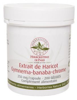 Gluci silhouette Extrait de Haricot Gymnema Banaba Chrome 200 Gélules Herboristerie de paris