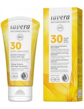 Crème solaire anti âge sensitive SPF 30 50ml Lavera protection solaire bio Abcbeauté