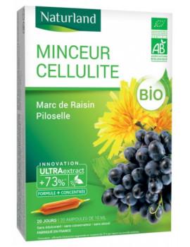 MINCEUR CELLULITE Bio Marc de raisin Piloselle 20 ampoules de 10ml Naturland silhouette Abcbeauté