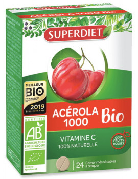 Acerola 1000 Bio 24 comprimes Super Diet vitamine C naturelle Abcbeauté