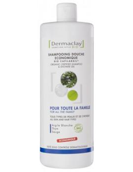 Shampooing Douche économique Argile blanche Thym Sauge 1L Dermaclay shampoing familial Abcbeauté