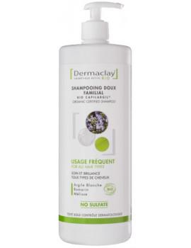 Shampoing doux familial usage fréquent Argile blanche 1 litre Dermaclay shampooing bio Abcbeauté