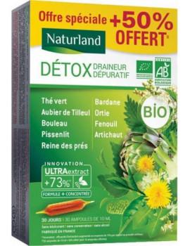 Détox Draineur Dépuratif Bio 9 plantes 20 ampoules de 10ml + 50 % offert Naturland