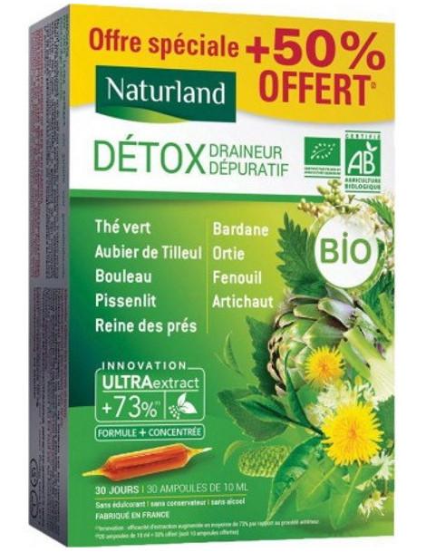Détox Draineur Dépuratif Bio 9 plantes 20 ampoules de 10ml avec 50 pour cent offert Naturland silhouette Abcbeauté