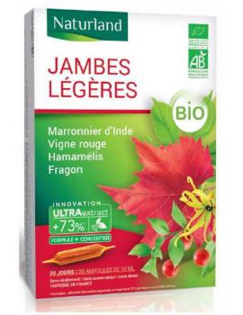 Vigne Rouge Marronnier d'inde Hamamelis Fragon Jambes légères Bio 20 Ampoules de 10ml Naturland circulation Abcbeauté