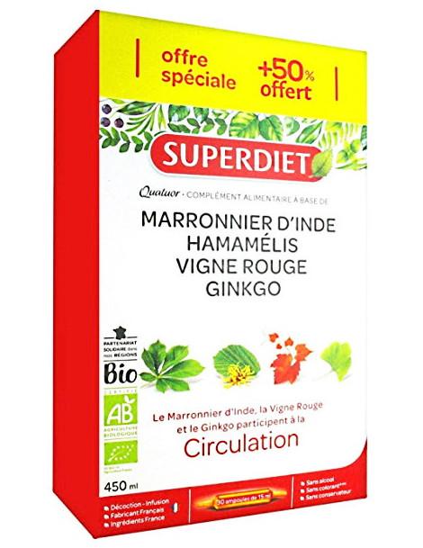 Quatuor Circulation bio - 20 ampoules 15ml et 10 offertes Super Diet Abcbeauté