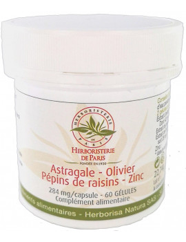 Astragale Olivier Pépins de raisins Zinc 60 gélules Herboristerie de paris antioxydant 7400 unités ORAC Abcbeauté
