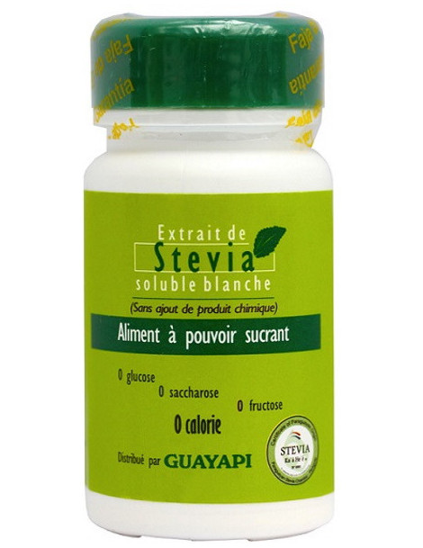 Stévia poudre blanche Rébaudioside pur 20gr Guayapi pouvoir succrant important Abcbeauté