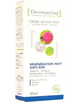 Crème active nuit régénération anti âge 50 ml Dermaclay anti-rides nourrissante Abcbeauté