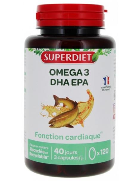 Super Diet  Omega 3 - 120 capsules - fonction cardiaque EPA DHA abcbeauté