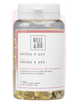 Oméga 3 à 65% 120 capsules Belle et bio coeur circulation artères EPA DHA Abcbeauté