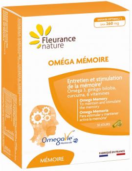 Oméga Mémoire 30 gélules et 30 capsules Fleurance nature oméga 3 ginkgo biloba curcumine Abcbeauté