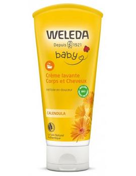 Crème lavante corps et cheveux au Calendula bébé 200 ml Weleda - soin pour les cheveux et le corps de bébé