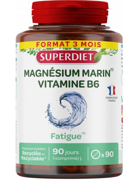 Magnesium marin Vitamine B6 90 comprimés Super Diet,  Stress,  abcBeauté
