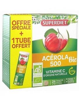 Acérola 500 bio + 1 tube OFFERT au total 36 comprimés Super Diet