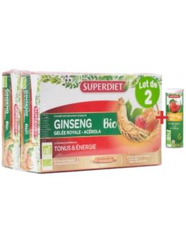 Ginseng Gelée Royale Acérola bio 40 ampoules avec 1 acerola gratuit Super Diet tonus Abcbeauté