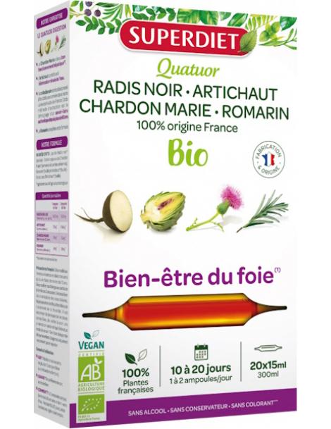 Quatuor Digestion bio  20 ampoules Super Diet Radis Noir Artichaut Chardon Marie Romarin abcBeauté