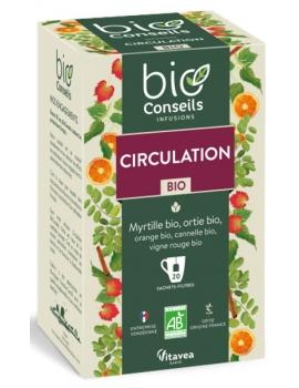 Infusion Circulation Bio 20 sachets Bio Conseils vigne rouge myrtille Jambes lourdes Abcbeauté
