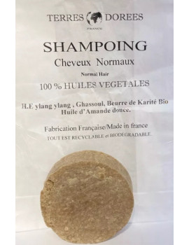 Shampoing solide Cheveux normaux 100 pour cent végétal 60 gr Terres dorées shampooing hydratant et écologique Abcbeauté