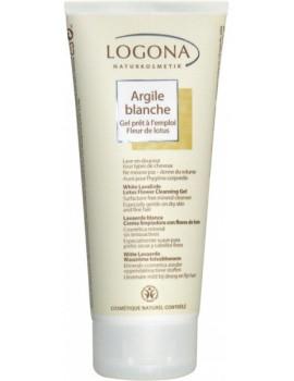 Argile blanche gel prêt à l'emploi Fleur de Lotus cheveux corps 200ml Logona sans agent lavant Abcbeauté