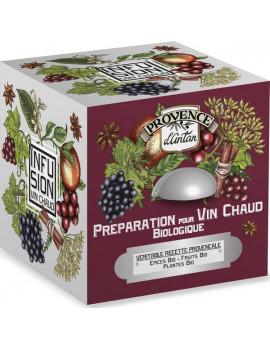 Préparation pour vin chaud bio cube 24 sachets Boite métal Provence d'Antan vin ou jus de raisin Abcbeauté