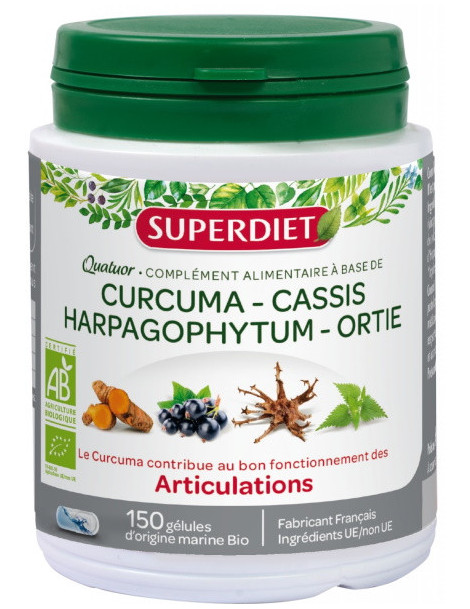 Super Diet Quatuor Curcuma Cassis Harpagophytum Ortie 150 gelules articulations Abcbeauté