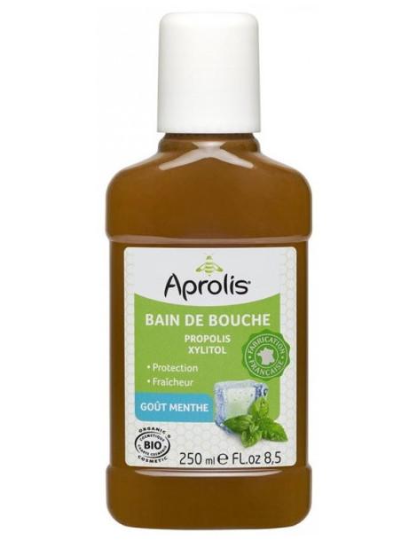 Bain de bouche Propolis et Xylitol goût Menthe 250 ml Aprolis hygiène bouche et dents gingivites Abcbeauté