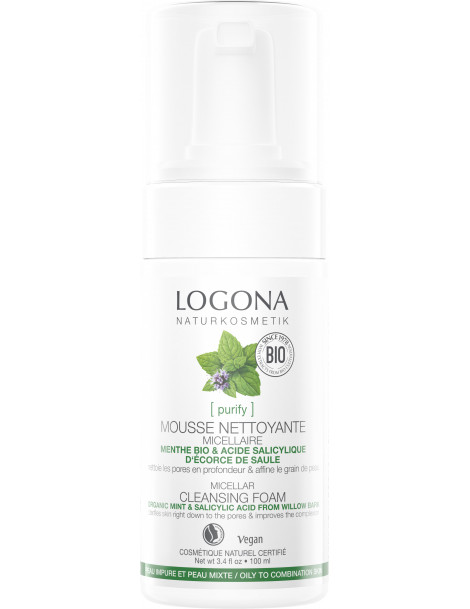 Mousse nettoyante Menthe bio Acide salicylique 100 ml Logona