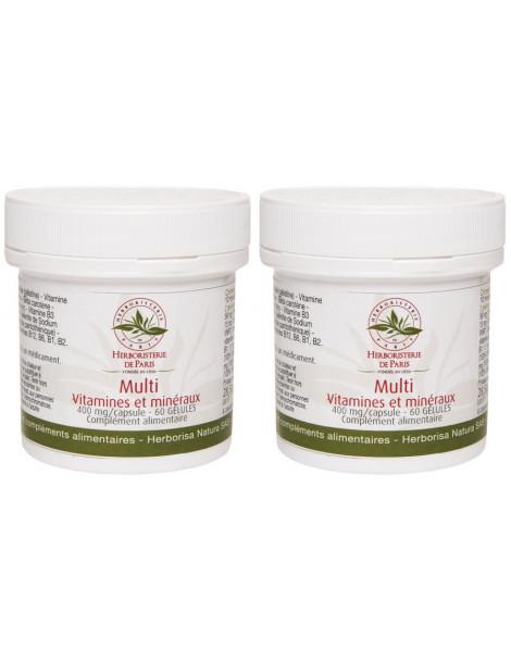 Lot de 2 Multi Vitamines Minéraux 2x60 gélules 2 mois de cure Herboristerie de paris 2 mois de cure Abcbeauté