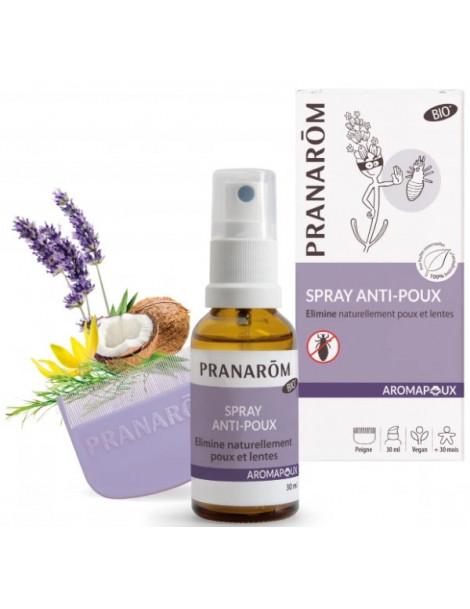 Spray Anti Poux 30ml avec peigne Aromapoux Pranarôm élimine poux et lentes Abcbeauté