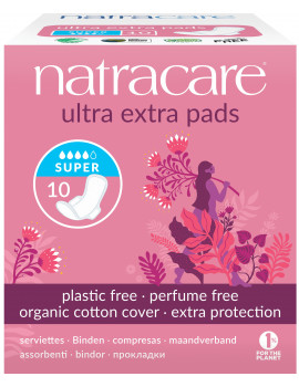Serviettes super ultra extra à ailettes Lot de 10 Natracare - lot de protections hygiéniques très absorbantes