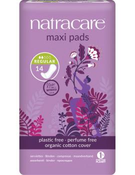 Serviettes périodiques normales MAXI Lot de 14 Natracare - lot de protections hygiéniques très absorbantes