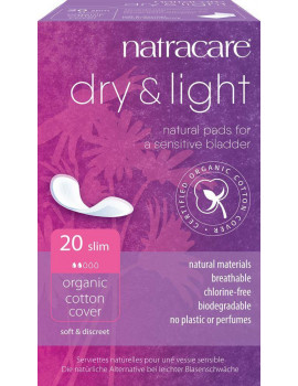 Serviettes incontinence légère Lot de 20 Natracare - lot de serviettes pour contrôler la légère incontinence