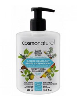 Baume démêlant tous cheveux Karité Verveine Citron 500ml Cosmo Naturel - produit d'hygiène pour les cheveux