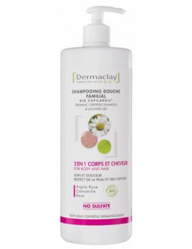 Shampoing douche familial bio Capilargil 2 en 1 Corps et cheveux  1L Dermaclay argile rose blanche camomille Abcbeauté