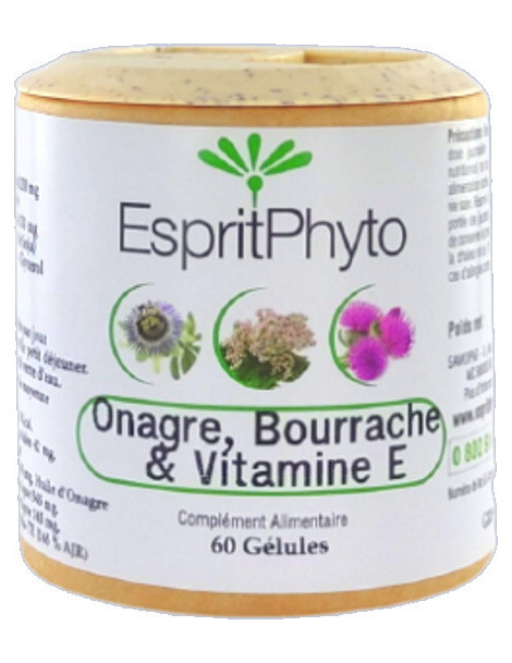 Onagre, Bourrache, Vitamine E 60 capsules de 500mg EspritPhyto Confort menstruel Abcbeauté