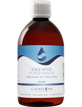 Eau vive Purifiante Recharge de 500 ml Catalyons argent zinc cuivre silicium Abcbeauté