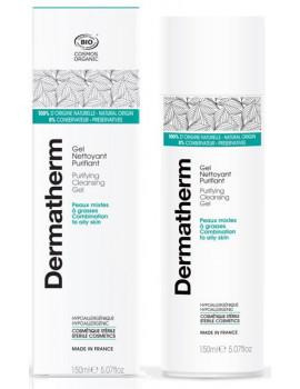 Gel nettoyant Purifiant peaux mixtes et grasses 150 ml Dermatherm eau florale de mélisse aloe vera Abcbeauté