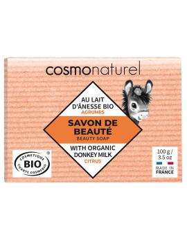 Savon au lait d'ânesse aux huiles essentielles d'Agrumes 100 gr Cosmo Naturel - savon bio hydratant