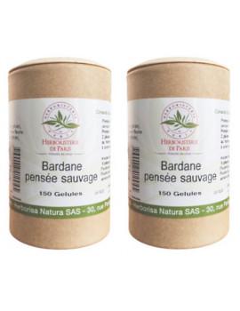 Bardane Pensee Sauvage lot de 2 boites 150 gelules vegetales Herboristerie de paris