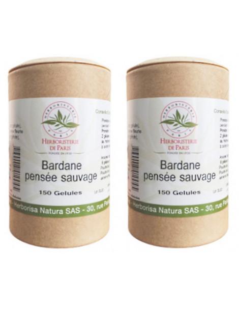 Bardane Pensee Sauvage lot de 2 boites 150 gelules vegetales Herboristerie de paris peau à problèmes Abcbeauté